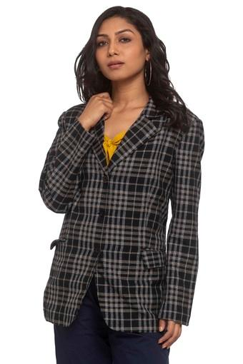 Womens Notched Lapel Check Jacket