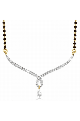 SPARKLES Gold Mangalsutra With Diamond Pendant Set N8106
