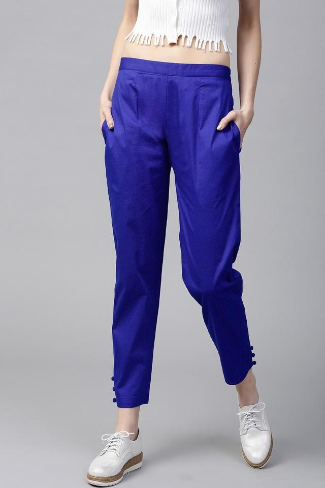 Women Cotton Solid Trouser With Both Side Pockets