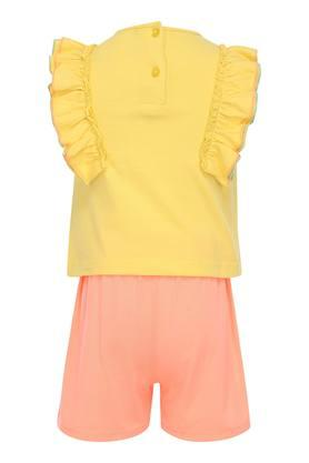 Girls Round Neck Embroidered Top and Shorts Set