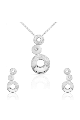 MAHI Mahi Liana Collection White Rhodium Plated Made With Swarovski Elements Pendant Set For Women NL1104086R