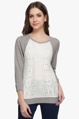Womens Round Neck Self Pattern Sweater