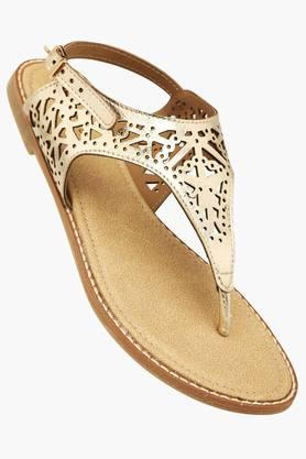 HAUTE CURRY Womens Casual Ankle Buckle Closure Flat Sandal