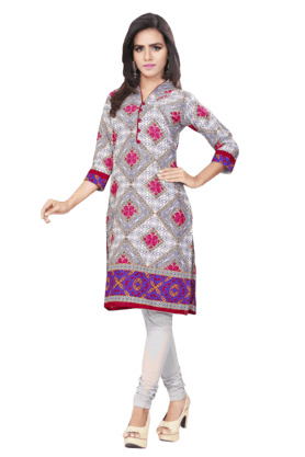 DEMARCA Womens Printed Kurta (Buy Any Demarca Product & Get A Pair Of Matching Earrings Free)
