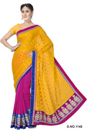 ASHIKA Women Viscose Georgette, Fancy Jacquard Sarees