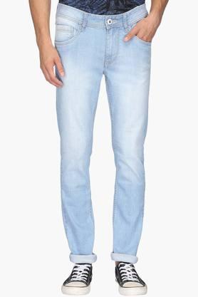 FLYING MACHINEMens Skinny Fit 5 Pocket Mild Wash Jeans (Jackson Fit)