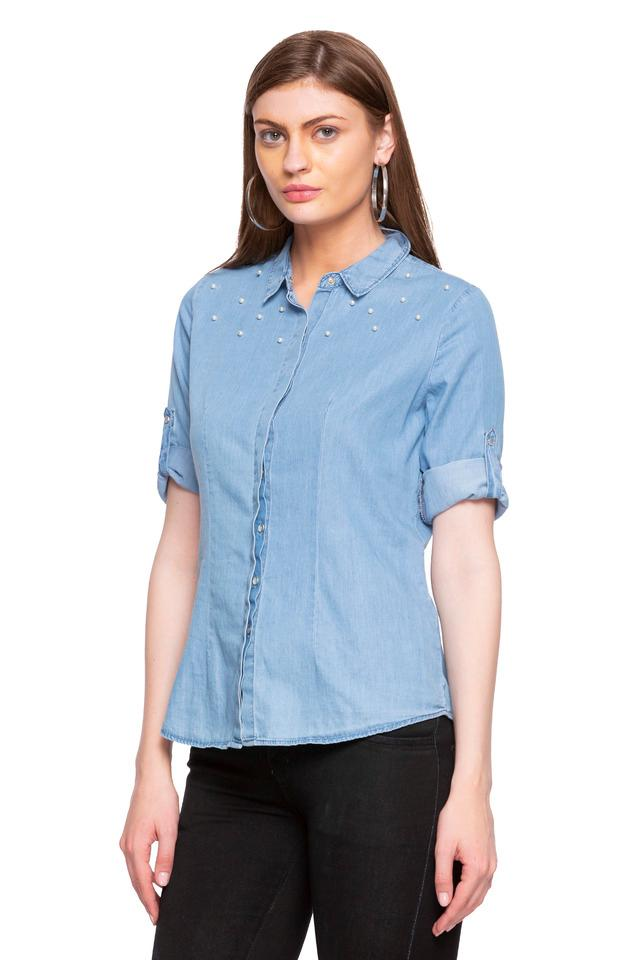Womens Collared Rinse Wash Embellished Shirt