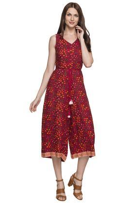 Womens V Floral Printed Jumpsuit