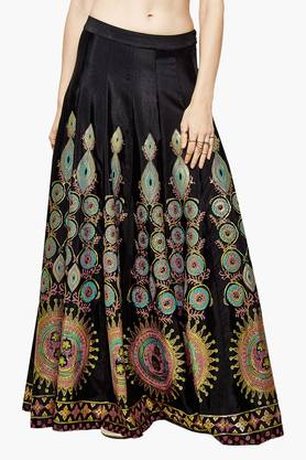GLOBAL DESI Womens Printed Flared Long Skirt