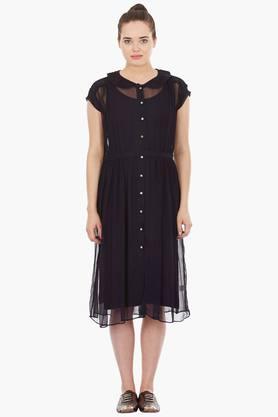 Womens Peter Pan Collar Solid Shirt Dress