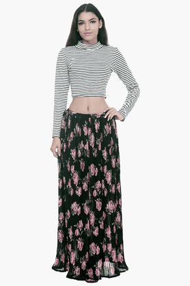 FABALLEY Womens Floral Print Skirt