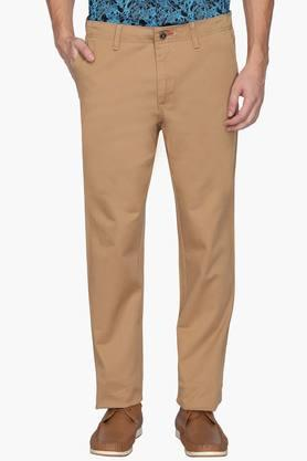 ALLEN SOLLY Mens Regular Fit 4 Pocket Solid Chinos