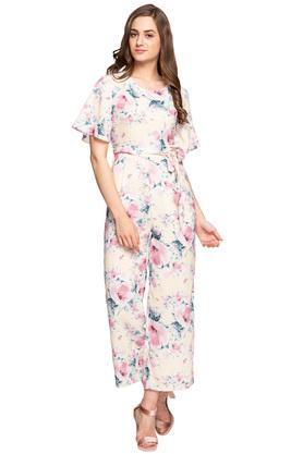 Womens Round Neck Floral Printed Jumpsuit
