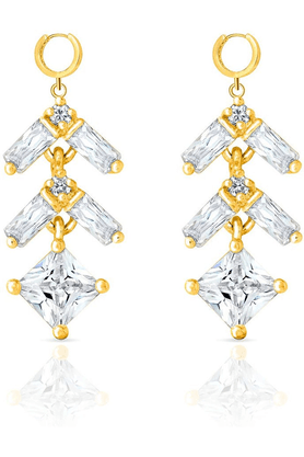 MAHIMahi Gold Plated Pretty Danglers Made With CZ Stones For Women ER1103657G