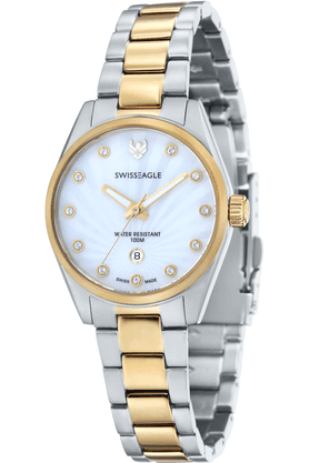 SWISS EAGLE Ladies Watch With Golden Two-tone Metallic Strap - 6048-33