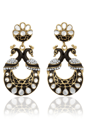ZAVERI PEARLS PEACOCK Designer DANGALE EARRING BY - ZPFK1502