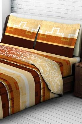 Tomatillo Nature Pure Cotton Double Bedsheet With 2 Pillow Covers - Brown & Beige