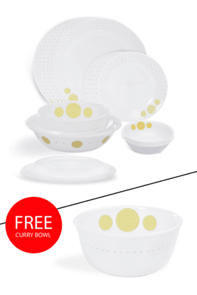CORELLEIndia Collection Spiral 21Pcs Dinner Set With Free Curry Bowl