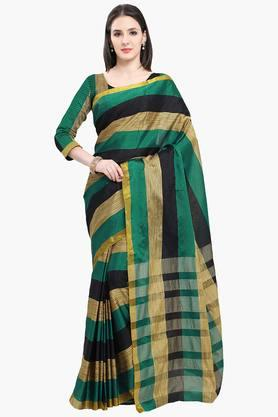 Women Poly Cotton Zari Border Solid Saree