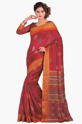 DEMARCA Womens Printed Gold Woven Saree - 201811302_9557