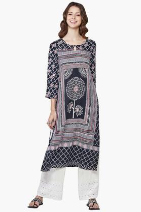 GLOBAL DESI Women Checkered Floral Print Kurta