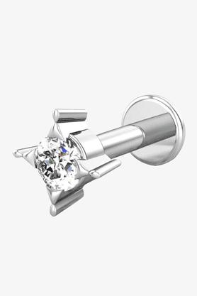 VELVETCASEWomens 18 Karat White Gold Nose Ring (Free Diamond Pendant) - 201065020