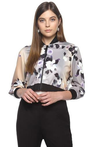 Womens Zip Through Neck Floral Print Jacket