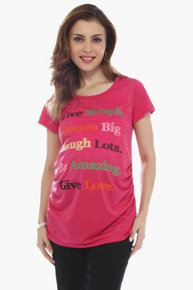 NINE MATERNITY Maternity Slogan Tee-Shirt In Jersey