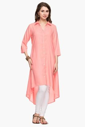 STOP Womens Collared Solid High Low Shirt Kurta - 201986219