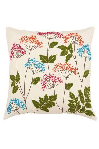 Square Flower French Knot Embroidered Cushion Cover