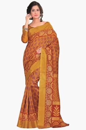 DEMARCA Womens Printed Gold Woven Saree