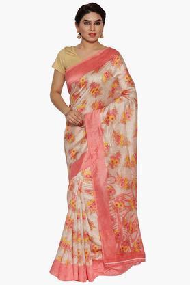 Women Floral Print Jacquard Silk Saree