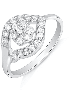 MAHI Mahi Rhodium Plated Captivating Delight Finger Ring With CZ For Women FR1100617R
