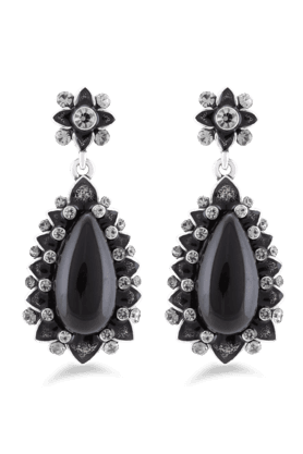 JAZZ Partyweaar Black And White Stone Flower Design Earring