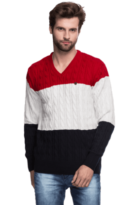 PROLINE Mens Full Sleeves V Neck Slim Fit Stripe Sweater