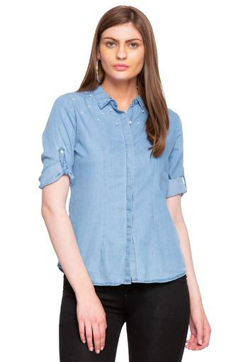 Womens Collared Rinse Wash Embellished Shirt