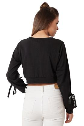 Womens Round Neck Eyelet And Twill Tape Detailing Tie-Up Crop Top