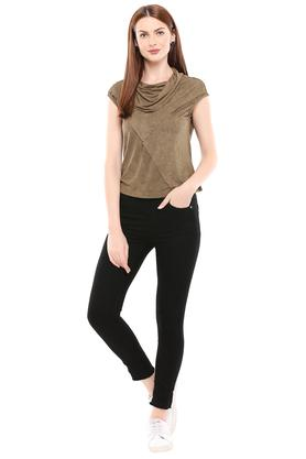 Womens Cowl Neck Slub Top