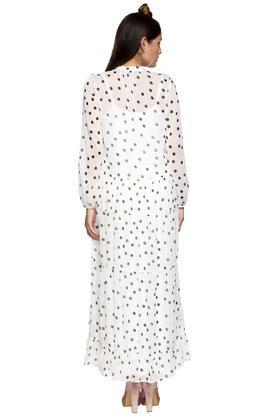 Womens Tie Up Neck Polka Dot Maxi Dress
