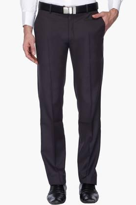 WILLS LIFESTYLE Mens 4 Pocket Solid Formal Trousers - 201463809
