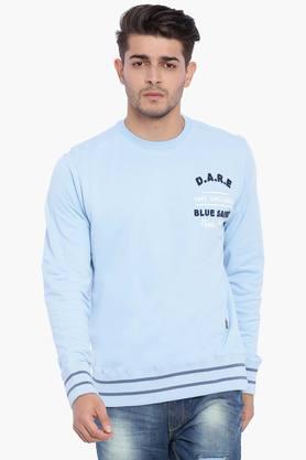 BLUE SAINTMens Dream Blue Solid Sweatshirt