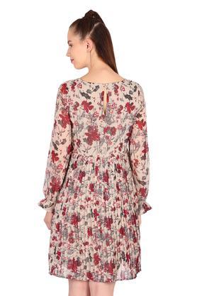 Womens Round Neck Printed A-Line Dress