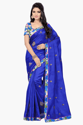 DEMARCA Womens Embroidered Saree
