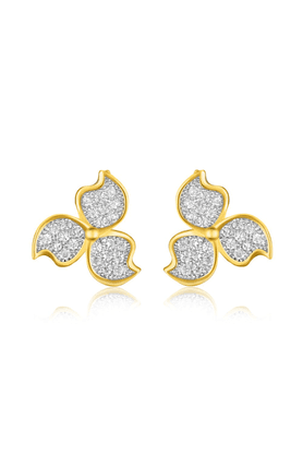 MAHI Mahi Gold Plated Micro Pave Flowery Triad Stud Earrings With CZ Stones For Women ER1109337G