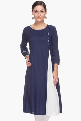 IMARA Womens Round Neck Colour-blocked Kurta (Buy Worth Rs.2500 & Get Rs.500. Off)