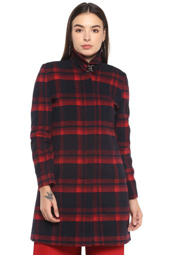 Womens High Neck Checked Coat