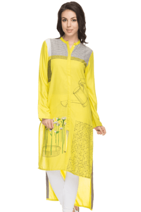 W Womens Printed High-Low Hemmed Kurta