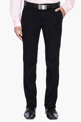 INDIAN TERRAIN Mens Slim Fit Solid Formal Trousers
