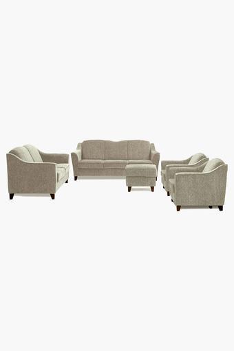 Ash Gray Fabric Sofa (3-2-1-1 Sofa - 1 Pouf Set)