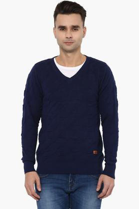 WROGNMens Slim Fit V Neck Knitted Self Pattern Sweater